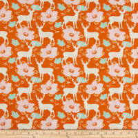 Freespirit Darling Meadow Deer Floral  Orange