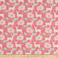 Freespirit Darling Meadow Deer Floral Pink