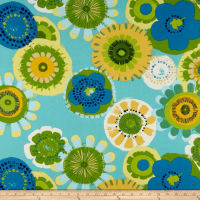 Cotton Duck Basics Fun Floral (Bolt, 8 Yards) Aqua