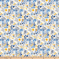 FIGO Eloise's Garden Tiles and Flowers Yellow/White