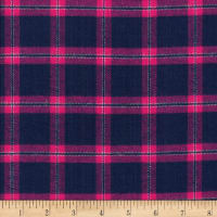 Windstar Twill Flannel Plaid Navy/Fuchsia