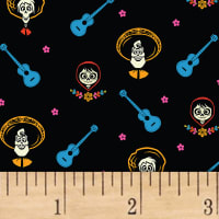 Disney Coco Stretch Jersey Knit Coco And Friends Black