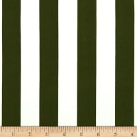 Double Brushed Poly Jersey Knit Medium Stripe Olive/Ivory