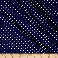 Double Brushed Poly Jersey Knit Pin Dot Navy/Ivory
