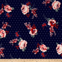 Double Brushed Poly Jersey Knit Dots and Roses Navy/Pink