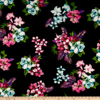 Double Brushed Poly Jersey Knit Tropical Floral Plum/Pink