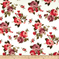 Double Brushed Poly Jersey Knit Floral Ivroy/Coral