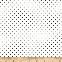 Double Brushed Poly Jersey Knit Small Dot White