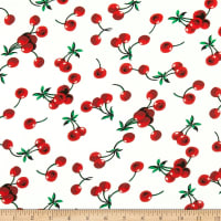 Double Brushed Poly Jersey Knit Cherries Ivory/Red