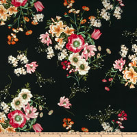 Double Brushed Poly Jersey Knit Floral Bouquet Black/Coral