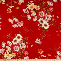 Double Brushed Poly Jersey Knit Floral Bouquet Red/Coral