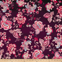 Double Brushed Poly Jersey Knit Paisley Floral Burgundy/Mauve