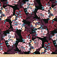 Double Brushed Poly Jersey Knit Tropical Floral Black/Plum