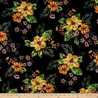 Double Brushed Poly Jersey Knit Tropical Floral Black/Mustard