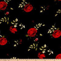 Double Brushed Poly Jersey Knit Roses Red/Black