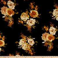 Double Brushed Poly Jersey Knit Rose Bouquet Black/Mustard