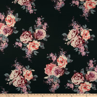 Double Brushed Poly Jersey Knit Rose Bouquet Black/Mauve