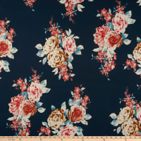 Double Brushed Poly Jersey Knit Rose Bouquet Navy/Coral