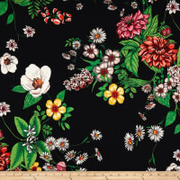 Double Brushed Poly Jersey Knit Floral Garden Black/Yellow
