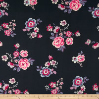 Double Brushed Poly Jersey Knit Floral Navy
