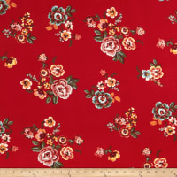 Double Brushed Poly Jersey Knit Floral Red