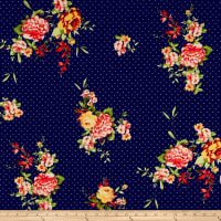 Double Brushed Poly Jersey Knit Dots and Floral Navy/Coral
