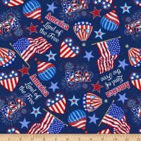 America: Land Of The Free Tossed Flag Icons Navy