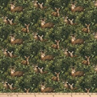 Northcott  Algonquin Flannel Deer Feature Green Multi