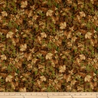 Northcott  Algonquin Flannel Leaves Tan Multi
