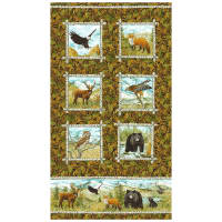 "Northcott  Mountain Springs Flannel Animals Panel 24"" Green Multi"