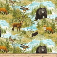 Northcott  Mountain Springs Flannel Animals Green Multi