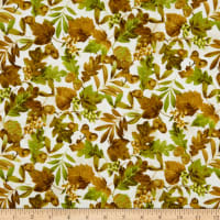 Northcott  Mountain Springs Flannel Open Leaves Beige Multi