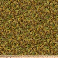 Northcott  Mountain Springs Flannel Packed Leaves Green Multi