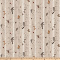 Northcott  Woodland Pitter Patter Stripe Medium Taupe/Multi