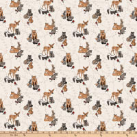 Northcott  Woodland Pitter Patter Animals Allover Light Taupe/Multi