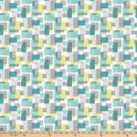 Northcott  Soho Textured Squares Turquoise and Lime