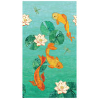 Northcott  Koi Pond  Metallic Koi Pond Border Turquoise