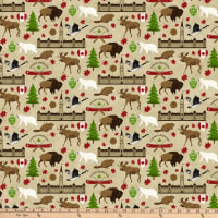 Northcott  Canadian Classics Digital Canadian Icons Beige
