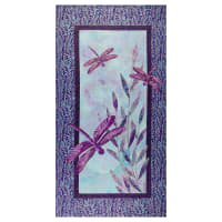 """Northcott  Dragonfly Moon Neutrals Panel 24"""" Purple/Turquoise"""