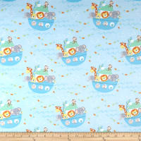 Timeless Treasures Flannel Ark Party Baby Noah's Ark Blue