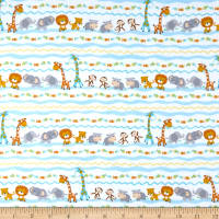 Timeless Treasures Flannel Ark Party Baby Animal Stripe Foam