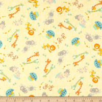 Timeless Treasures Flannel Ark Party Tossed Baby Animal Friends Yellow