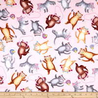 Timeless Treasures Cat Crazy Workout Cats Pink