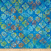 Timeless Treasures Tonga Batik Grasshopper Wallpaper Sapphire