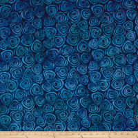 Timeless Treasures Tonga Batik Grasshopper Swirls Marine