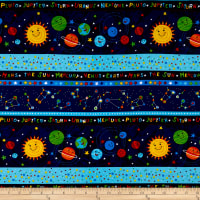 "Timeless Treasures Solar Power Solar System 11"" Stripe Navy"