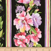 "Timeless Treasures Isabelle Wild Rose 11"" Stripe Black"