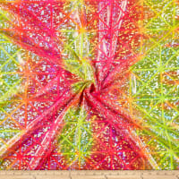 Tie Dye Square Hologram Spandex Tricot Yellow/Orange/Hot Pink