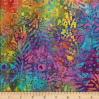 Gypsy Batik Fern with Dots Bright Multi
