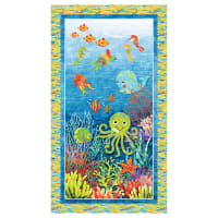 "Northcott  3D Underseas Adventures Panel 24"" Blue Multi"